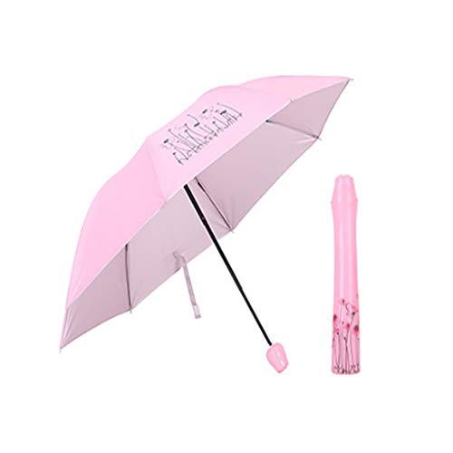(Rose Pink Folding Rain Windproof Umbrella Folding Anti-UV Sun/Rain Umbrella)