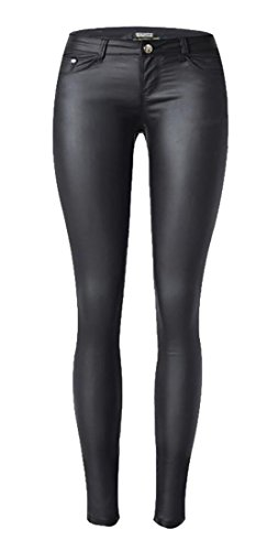 Joe Wenko Womens Jean All-Match Pencil Sexy Faux Leather Motorcycle Low Rise Pants Black M