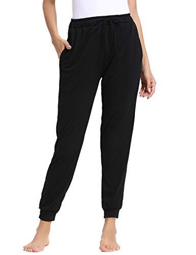 (Abollria Women's Cotton Pajama Pants Stretch Knit Lounge Pants with Pockets,Black,M)