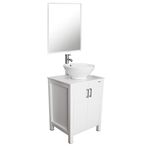 24 Bathroom Vanity and Sink Combo, Single Sink Vanity Cabinet,Bathroom Vanity Top With Round Porcelain Vessel Sink,Free Stand Cabinet With Mirror
