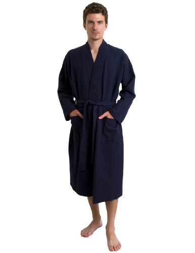 - TowelSelections Men's Waffle Bathrobe Turkish Cotton Kimono Robe Large/X-Large Navy