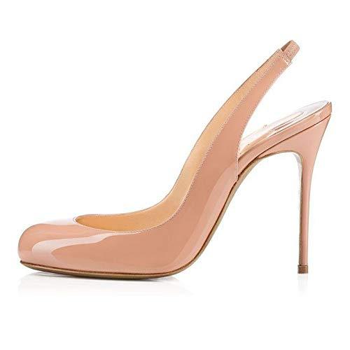 Nude Heels Addict's Women's shoes Round Toe Sling Back High Heel Sandals