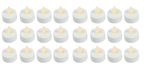 (Easy Gift Ideas Flameless LED Battery Operated Tealight Candles 24 Bulk Pack of White)