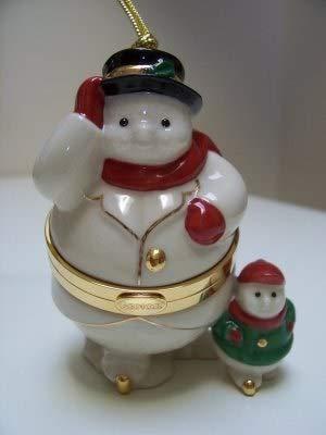 (Lenox Snowman and Snowchild Hinged Trinket Box Ornament)