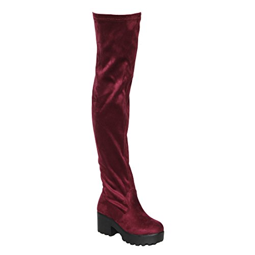 Beston EJ76 Women's Stretchy Snug Fit Block Heel Over the Knee Thigh High Boots, Color:BURGUNDY SUEDE, Size:10 Chunky Knee High Heels