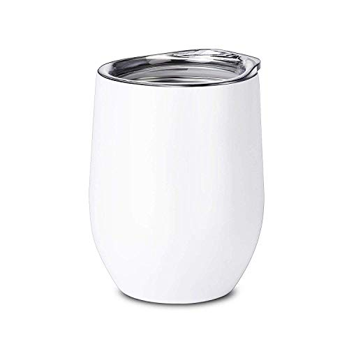 Alemozala Wine Tumbler with Lid,Stainless Steel Stemless Wine Glasses Travel Mug, 12 oz Double Walled Vacuum Insulated Tumbler Cup for Coffee, Wine, Cocktails, Ice Cream (white)