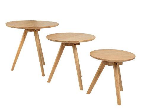 ts-ideen 3er Set Design Beistelltische Rund Eiche natur Kaffeetisch Couchtisch