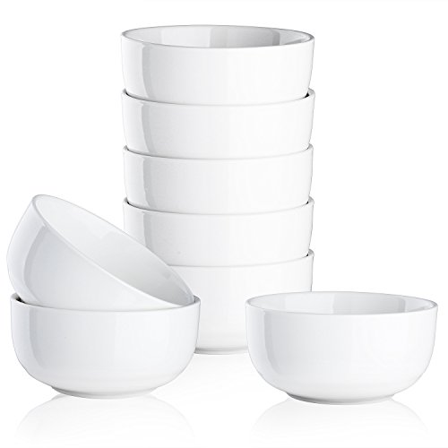 Mandydov 10 Ounce Porcelain Bowl Set Dessert Bowls Dinnerware for Cereal Cottage Cheese Fruit Crackers Salad - Set of 8 White (Salad Dessert Fruit Bowl)