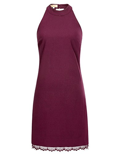 Women's Elegant Sleeveless Lace Halter Shift Dress(S,Burgundy) (Dress Sleeveless Shift Halter)