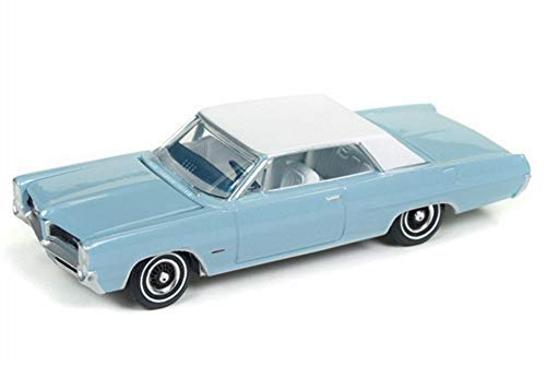 Auto World 1964 Pontiac Grand Prix, Skyline Blue w/ White Roof AW64182/48B - 1/64 Scale Diecast Model Toy -