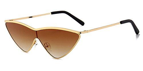 Cadre lunettes de protection de Cateye Brown Dintang UV400 Wayfarer Femmes non Eyewear lunettes Lentille polarisées Or soleil fqSvE6zw