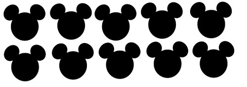 Disney Mickey Mouse Head Die Cuts - 10piece 5 Inches Wide -