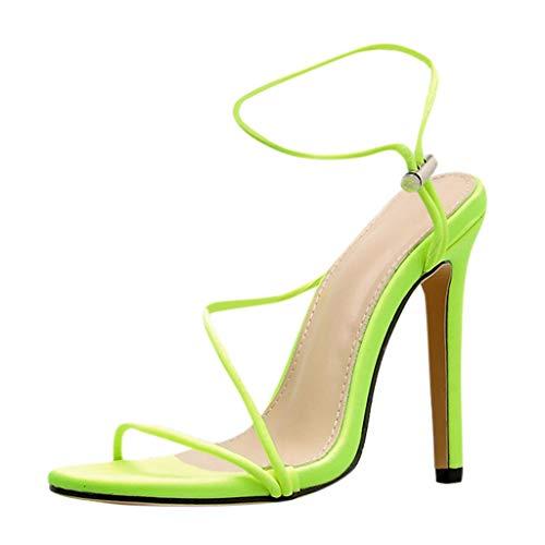 d8c0f8b00608 Women Stiletto High Heels Sandals - Ladies Elegant Open Toe Spaghetti Strap  Ankle Buckle Pump Sandals