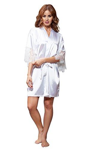 Pure Color Lace (Women's Pure Color Satin Short Kimono Bridesmaids Lingerie Robes (XX-Large, White Lace))