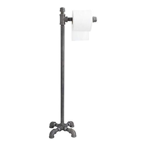 (PIPE DÉCOR Freestanding Industrial Toilet Paper Holder, Rustic Farmhouse Bathroom, Iron Metal Grey Vintage Toilet Accessories, Tee Design, 1/2 Inch Pipe Pedestal, Authentic Pipe and Black)