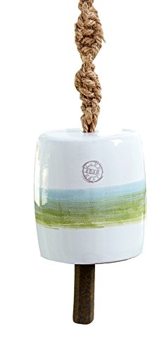 Mud Pie 4264343G Lake Terracotta Wine Chime - Green Stripe,Green