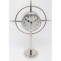 Global Views Luxe Mid Century Modern Silver Star Clock | Retro Compass Table Desk Round White