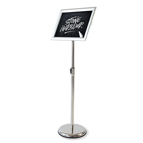 KLEVID Heavy Duty Pedestal Poster Sign Stand, Adjustable Aluminum Snap Open Frame For 8.5 x 11 Inches Graphics, Both Vertical and Horizontal View, - Free With Lenses Frames
