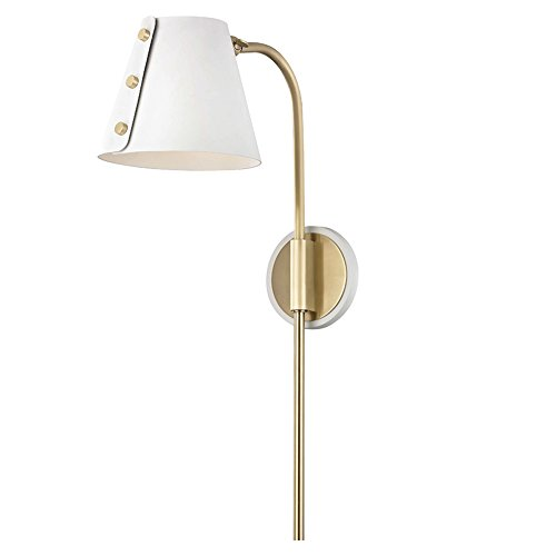 Mitzi Meta Aged Brass and White LED Swing Arm Wall Lamp ()
