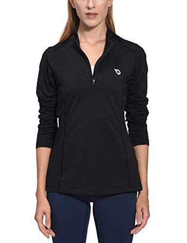 Zip 1/4 Thermal (Baleaf Women's Thermal Running Shirts Long Sleeve 1/4 Zip Pullover Running T-Shirts Black S)
