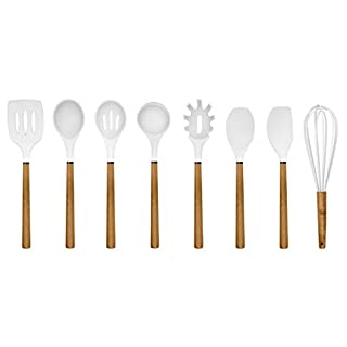 Country Kitchen 8 pc Non Stick Silicone Utensil Set with Rounded Wood Handles for Cooking and Baking - White