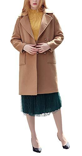 Fashion Autunno Cappotti Semplice Vita Donna Casuali Giaccone Sciolto Invernali Breasted Calda Kamel Glamorous Lana Lunga Elegante Double Bavero Termico Outerwear Manica Cappotto Alta w8Irqp8
