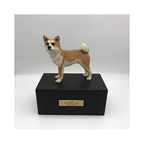 DCCER Seal Pet Coffin, Custom Cat/Dog Urn, Animal Cremation Monument and Tombstone Collectable/Buried Decorative Sealed Jar,V (Color : Akita)