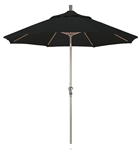 California Umbrella 9-feet Olefin Fabric Aluminum Auto Tilt Market Umbrella with Champagne Pole, Black