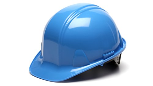Pyramex HP14162 Standard Cap Style Hard Hat with 4-Point Ratchet Suspension, Light Blue