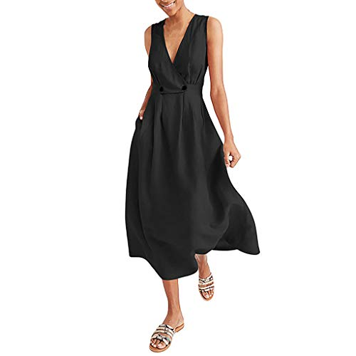 - Mayunn Sleeveless V-Neck Dress for Women Women's Solid Vest Button Easy Sandy Beach Dress
