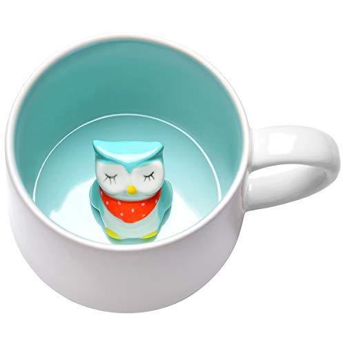 3D Cute Cartoon Coffee Mug Miniature Animal Figurine Ceramics Coffee Cup Cartoon Animal Inside Funny Coffee Mug Gift for Office Birthday Men Women