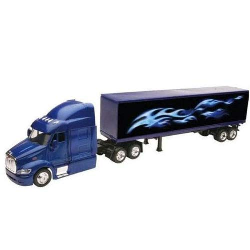 New DIECAST Toys CAR NEWRAY 1:43 Peterbilt Model 387 Container with Blue Flame Design 15553A