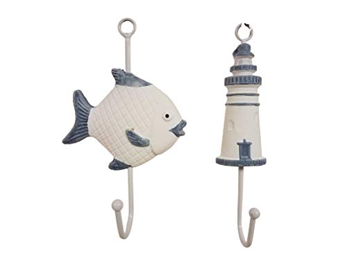 Lighthouses Bath (Awesome Set of (2) Fish & Lighthouse Nautical Wall Decor Hangers!)