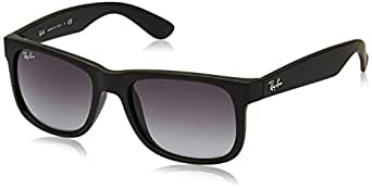 Ray-Ban 0RB4165 601/8G Rectangular Sunglasses,Rubber Black,51 mm
