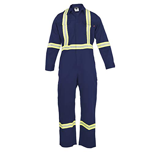 Flame Resistant FR High Visibility Hi Vis Coverall - 88% C/12% N (3X-Large, Navy ()