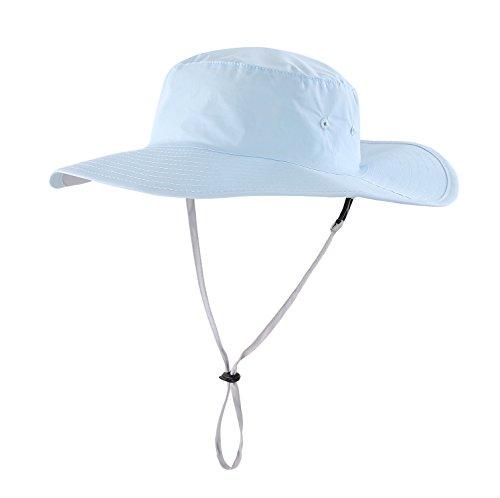 Home Prefer Kids UPF 50+ Bucket Sun Hat Breathable Cotton Wide Brim UV Protection Caps Blue