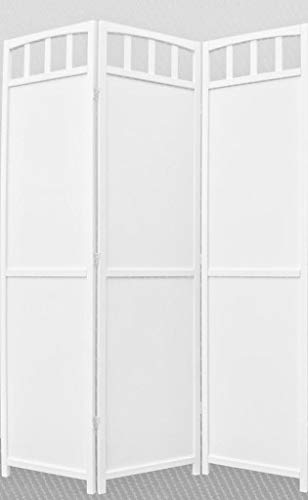 (Legacy Decor 3-Panel Screen Room Divider Solid Wood White Finish)