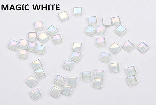 YEZZ Mosaic Supplies 200 Pieces/Square Shape 0.4x0.4 inch Transparent Stained Mosaic Glass Pieces for Home Decoration or DIY Crafts (Magic White)