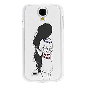Girl in T-shirt Pattern Hard Case with Rhinestone for Samsung Galaxy S4 I9500