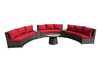 Excellent Amazon Com 6 Piece Curved Bench Conversation Set Rattan Onthecornerstone Fun Painted Chair Ideas Images Onthecornerstoneorg