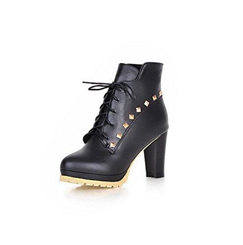 AgooLar Damen Hoher Absatz Eingelegt Niedrig-Spitze Stiefel mit Metallisch, Schwarz, 37