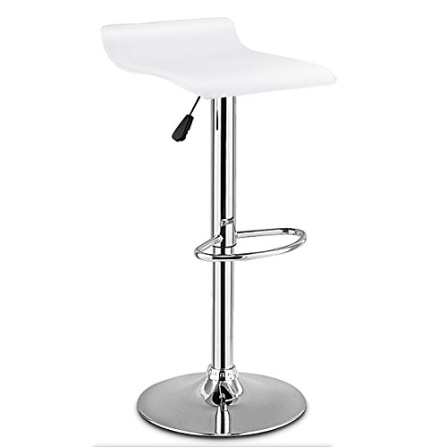 TimmyHouse 1 PC Swivel Bar Stool Adjustable Backless Dining Chair PU Leather White New (Rattan Asda Bench)