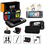 Orzly Switch Accessories Bundle, Black Orzly Carry Case for Nintendo Switch Console, Tempered Glass Screen Protectors, USB Charging Cable, Switch Games Case, Comfort Grip Case, Headphones) Black