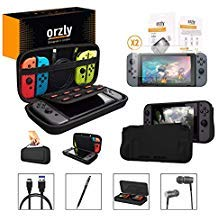 Orzly Switch Accessories Bundle, Black Orzly Carry Case for Nintendo Switch Console, Tempered Glass Screen Protectors, USB Charging Cable, Switch Games Case, Comfort Grip Case, Headphones Black ()