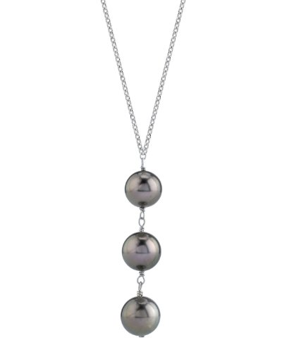 THE PEARL SOURCE 14K Gold 9-10mm Round Black Tahitian South Sea Cultured Pearl Triple Drop Pendant Necklace for Women