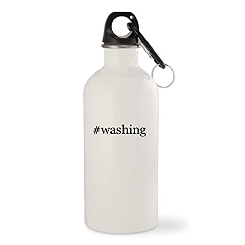 #washing - White Hashtag 20oz Stainless Steel Water Bottle with Carabiner - Terrain Wonder Wash