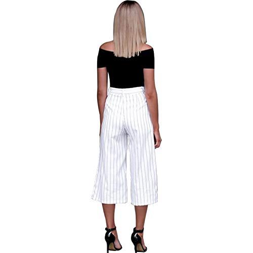 Pantaloni Righe M FuweiEncore Pantaloni a Blu Bianca Donna Colore Eleganti Dimensione Casual Larghi Donna Estivi wnYnfXaq