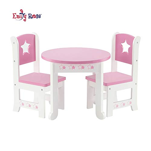 Emily Rose 18 Inch Doll Furniture for Journey Girl Dolls   Doll Table and 2 Chair Dining Kitchen Set   Fits American Girl Dolls (Star Theme)