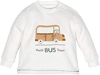 Camiseta Manga Larga Blanca Estampada Sudadera bebé niño 3-24 Meses algodón orgánico otoño/Invierno.: Amazon.es: Ropa y accesorios