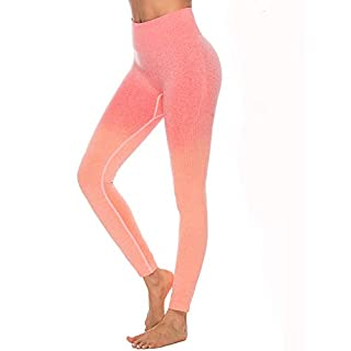 Women Ombre Seamless Leggings Yoga Fitness Sport Slim Running Gym Workout Tights Butt Lift Yoga Pants (Orange, M)